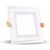 V-tac LED panel üveg kerettel - négyszög (6 Watt) természetes fe