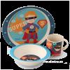 DEDRA GoEco Bamboo 3 részes gyerek étkészlet - Super boy (GoEco Bamboo 3 részes gyerek étkészlet - Super boy)