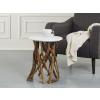 Beliani Dohányzóasztal - faágas dizájn - fehér - HOUMA