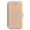 Telone Book Pocket oldalra nyíló fényes bőrbevonatos támasztós fliptok HTC M10 One-hoz arany*