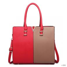 Barna LT1666- Miss Lulu London osztott Front Design Medium bevásárló táska kézi táska piros és barna