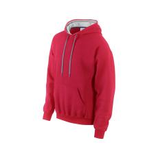 GILDAN pulóver bélelt kapucnival, piros/szürke