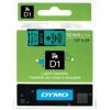 DYMO Páska D1 - 12 mm x 7 m, čierna/zelená