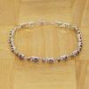 BAMOER Jewelry Fehér arannyal bevont karkötő lila kövekkel