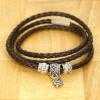 BAMOER Jewelry Barna bőr karkötő ezüst díszekkel - szív