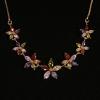 BAMOER Jewelry Arannyal bevont nyaklánc színes virágokkal