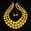 Honey Jewelry Trading Co.,Ltd Ezüsttel bevont, többsoros citromsárga akril nyaklánc és fülbevaló