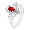 Fényes gyűrű, ezüst szín, sötétpiros ovális és átlátszó cirkóniák