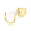 14K sárga arany orrpiercing - lapos szív cirkóniával