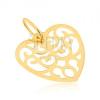 Medál 14K sárga aranyból - szabályos kivágott szív, minta