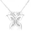 925 ezüst nyakék, csillogó lepke, átlátszó cirkóniák szárny körvonalakban