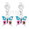 926 ezüst fülbevaló, függő pillangó kékes lila szárnyakkal, kristály