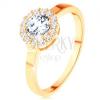 Csillogó gyűrű 14K sárga aranyból - kerek cirkóna átlátszó cirkóniás szegéllyel