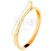 14K sárga arany gyűrű - fehér fénymázas hullám, fénylő szárak