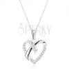 925 ezüst nyakék, medál nyakláncon, szív körvonal, keresztezett vonalak