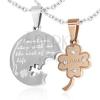 Acél kettős medál, kerek tábla és négylevelű lóherre romantikus felirattal