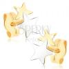 Bedugós fülbevaló 9K sárga aranyból - kétszínű csillagok
