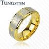 Arany színű tungsten gyűrű, keresztek és ezüst színű sáv, 8 mm