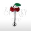 Szemöldök piercing - piros cseresznye