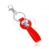 Kulcstartó szilikon medállal piros színben, cirkóniás medve