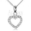 925 ezüst nyakék, átlátszó cirkóniás kontúr egyeletes szív alakban