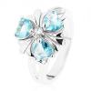 Ezüst színű gyűrű, virág világoskék szív alakú cirkóniákkal