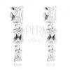 925 ezüst fülbevaló, három áttetsző téglalap alakú cirkónia, beszúrós kapcsolás
