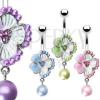 Köldökpiercing - virágocska, cirkóniák, gyöngy