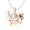 925 ezüst nyakék - fényes I LOVE YOU felirat réz színben