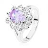 Fényes gyűrű ezüst színben,világos lila ovális, átlátszó cirkóniás szegély