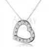Nyakék 925 ezüstből, egyenletes szív körvonal, átlátszó cirkóniák