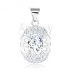 Medál 925 ezüstből, ovális átlátszó cirkónia, pillangó, kettős cirkóniás keret