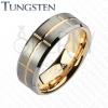 Kétszínű tungsten karikagyűrű, arany és ezüst árnyalatok, bevágások, 8 mm