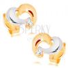 585 arany fülbevaló - kétszínű aszimmetrikus szívkörvonal