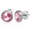 Fülbevaló acélból, nagy kerek rózsaszín cirkóniák, bedugós fülbevaló