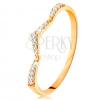 Gyűrű 14K sárga aranyból - csillogó sáv, enyhén megtört és csúcsban végződő