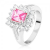 Gyűrű ezüst árnyalatban, nagy, csiszolt téglalap rózsaszín színben, átlátszó cirkóniák