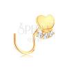 14K sárga arany orrpiercing - fényes szív, átlátszó cirkóniás vonal