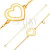 14K sárga arany karkötő, medálok - fehér fénymzas szívecske és cirkónia
