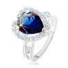 Gyűrű, 925 ezüst, kettős szárak, kék cirkónia - könnycsepp, csillogó keret
