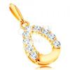 14K sárga arany medál - csillogó könnycsepp körvonal, fényes alsó rész