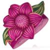 Pink csuklópánt bőrből - hatalmas tavirózsa