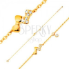 Karkötő 14K sárga aranyból - két csillogó masni és átlátszó cirkónia, lánc