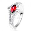 Gyűrű 925 ezüstből, ovális rubinvörös kő, tiszta kövecskék, S forma