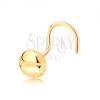 14K sárga arany orr piercing, hajlított - kerek fej vágatokkal