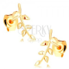 14K sárga arany fülbevaló - féyes hajlított ág apró levelekkel