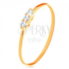585 sárga arany gyűrű - vékony fényes szárak, három cirkónia egy vonalban