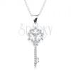 925 ezüst nyakék, nyaklánc és medál, kulcs virággal, áttetsző cirkóniák