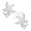 Beszúrós fülbevaló 925 ezüstből, cirkóniás csillag