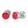 Hamis fültágító piercing - piros cirkóniák, egy pár